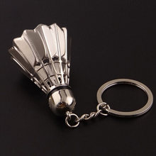 Key Chains Rings Girl Friend Gift Alloy Mirror Polished Creative 3D Badminton Keychains Shuttlecock Sports(China)