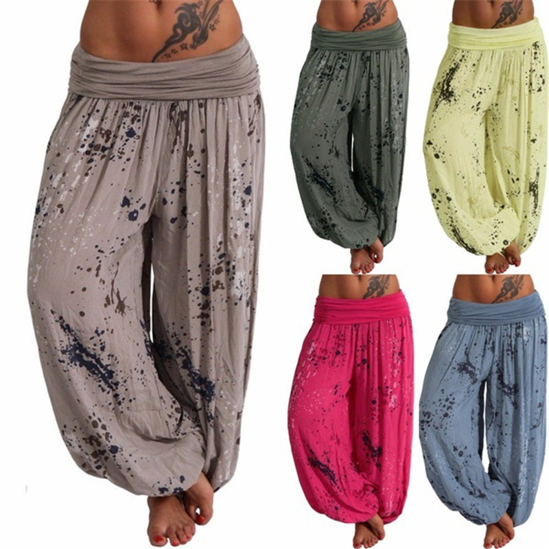 Women Harem Pants Chic Harajuku Splatter Print Summer Casual Wide Leg Pants 2019 Female Harem Pants