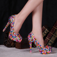 Red Pink Blue Multi Color Sparkly Crystal Wedding Dress Shoes Womens High Heel Fashion Diamond Pumps
