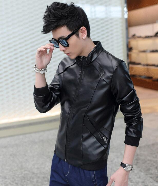 HOT 2018 Spring and Autumn New Men's Fashion Pure Color And Velvet Genuine Leather Jacket  M-XXXL