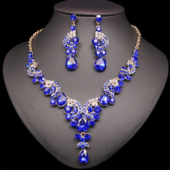 Fashion Crystal Jewelry Sets Jewelry Jewelry Sets Women Jewelry Metal Color: 2 pcs suit dark blue