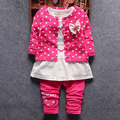 New Baby Girls Cloth Spring infant baby suit sets girl Clothing Long sleeve bow lie kid suit dress high quality 3 PCS Set Coat
