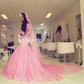 2016 Fancy Muslim Pink Lace Mermaid Islamic Wedding Gowns Court Train Detachable Veils V Neck Sexy New Bridal Dresses Cap Sleeve