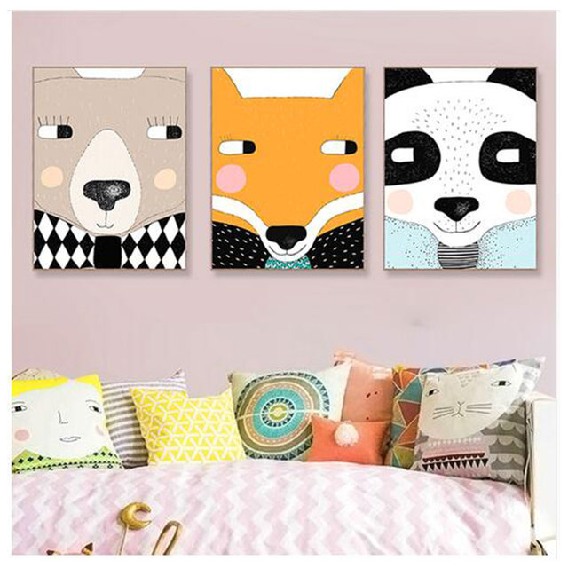 Cute Animal Face Panda Bear Fox Canvas Big Art Poster Prints Wall Pictures Modern Nordic Kids