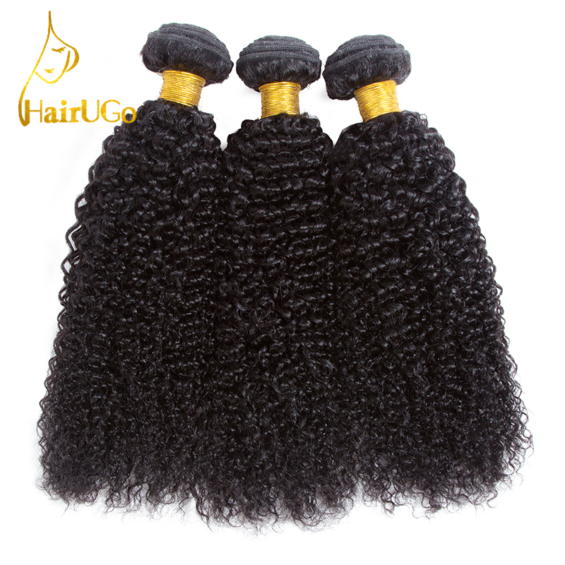 HairUGo Hair Pre-Colored Brazilian Kinkly Curly 100% Human Hair 3 Bundles Nature Black Hair Weaving