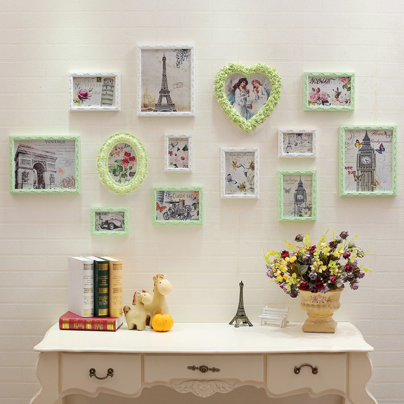 13pcs modern picture frames romantic foto quadro frame moldura marcos de fotos resin for hanging on