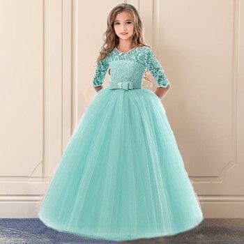 2e71c1b30 Chica adolescente ropa de verano 2018 de encaje flor vestido de niña para  boda fiesta niños ropa de los niños traje de la princesa 10 12 14 años