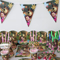 Luxury 112pcs masha and bear birthday party decoration kids girl party supplies cup plate flag table cloth favors for 8 people