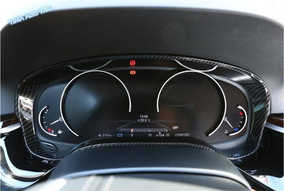 Garniture de couverture d'anneau d'instrument de tableau de bord de couleur de Fiber de carbone de style automatique de Lapetus 1 pièces pour BMW série 5 G30 530I 2017 2018 2019 ABS - 6