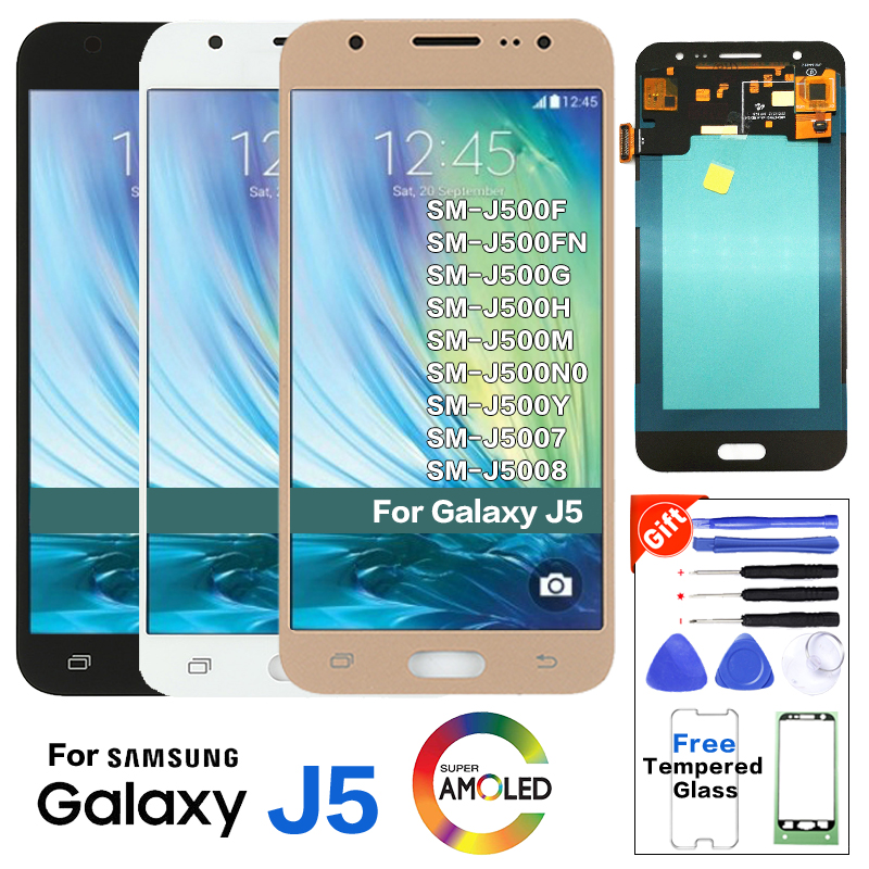 Super Amoled <font><b>LCD</b></font> for Samsung Galaxy J5 2015 <font><b>J500F</b></font> <font><b>LCD</b></font> Display Touch Screen Digitizer 100% Tested Original Quality Tested+Tools image