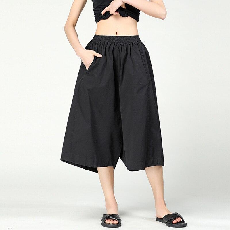 CHICEVER Herbst Vintage Hosen Für Frauen Breite Bein Hosen 2018 Elastische Hohe Taille Taschen Casual Hosen Japan Stil Mode Flut