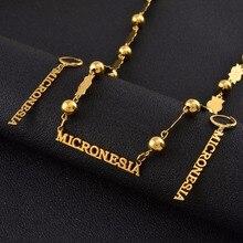 Anniyo MICRONESIA 펜던트 비즈 목걸이 귀걸이 세트 여성용 골드 컬러 볼 체인 쥬얼리 Trendy Islands Gifts #051821
