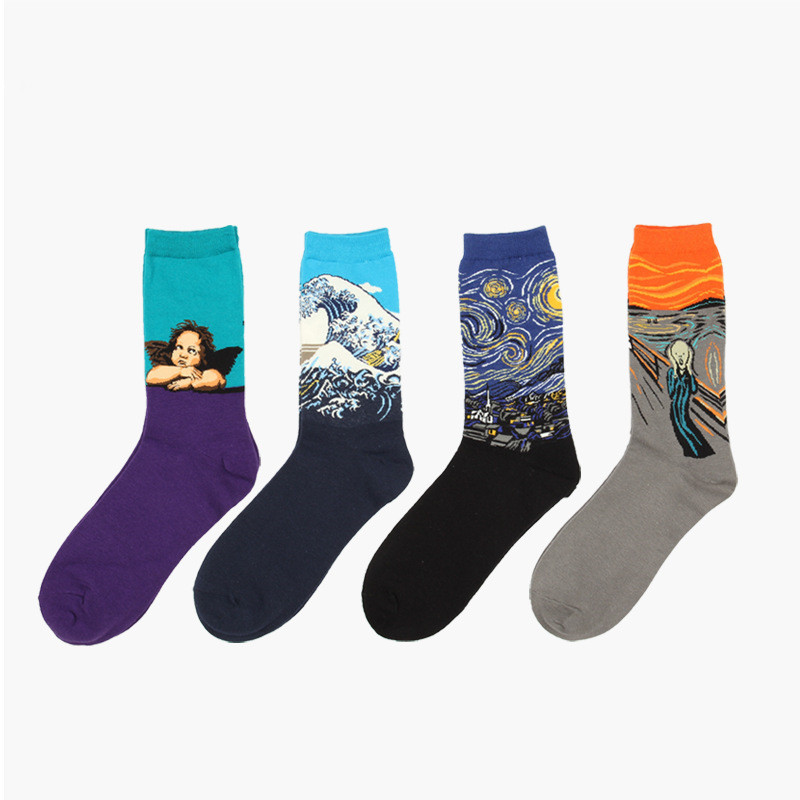Mens's Socks The Abstract Painting Series of Autumn and Winter Retro Notre Dame Cupid Men's Cotton Socks In Tube Socks
