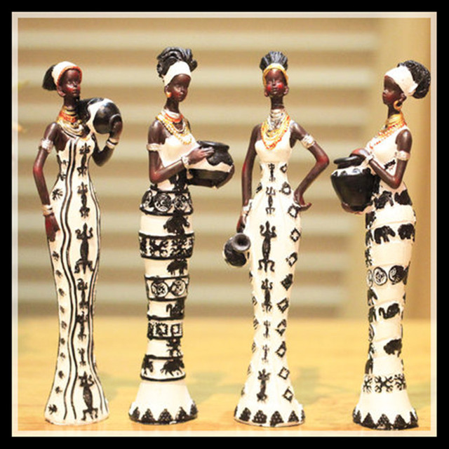 Set of 4, New africa figurines  resin model kit unique home decor Living room crafts ornaments girl