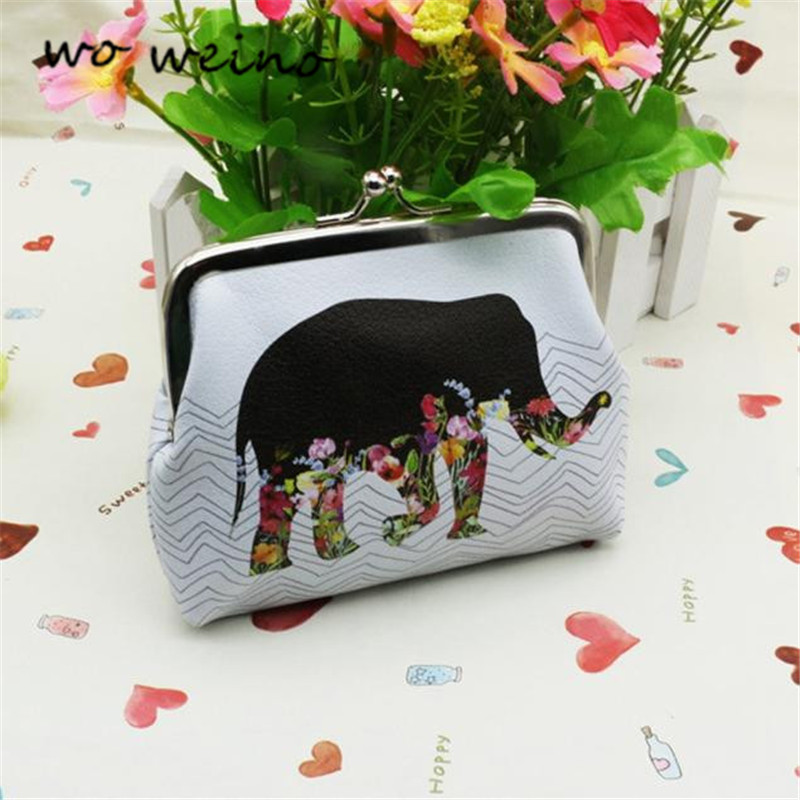 Wo weino 2016 New Women Coin Change Purse Elephant Printing, Lady Purse, Leather Coin Wallet,Female Money Change Bag Wallet Gift туфли instreet instreet in011amaebs0