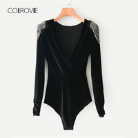 COLROVIE Black Solid V Neck Beading Shoulder Sexy Velvet Bodysuit Women 2019 Spring Long Sleeve Wrap Skinny Elegant Bodysuit