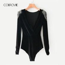 Colrovie preto sólido v pescoço miçangas ombro sexy veludo bodysuit feminino 2019 primavera manga longa envoltório magro elegante bodysuit