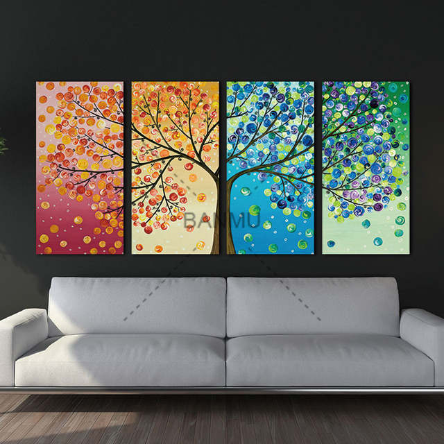 Us 8 53 46 Off Canvas Painting Poster Colourful Leaf Trees 4 Piece Painting Wall Art Modular Pictures For Home Decor Wall Art Picture Painting In