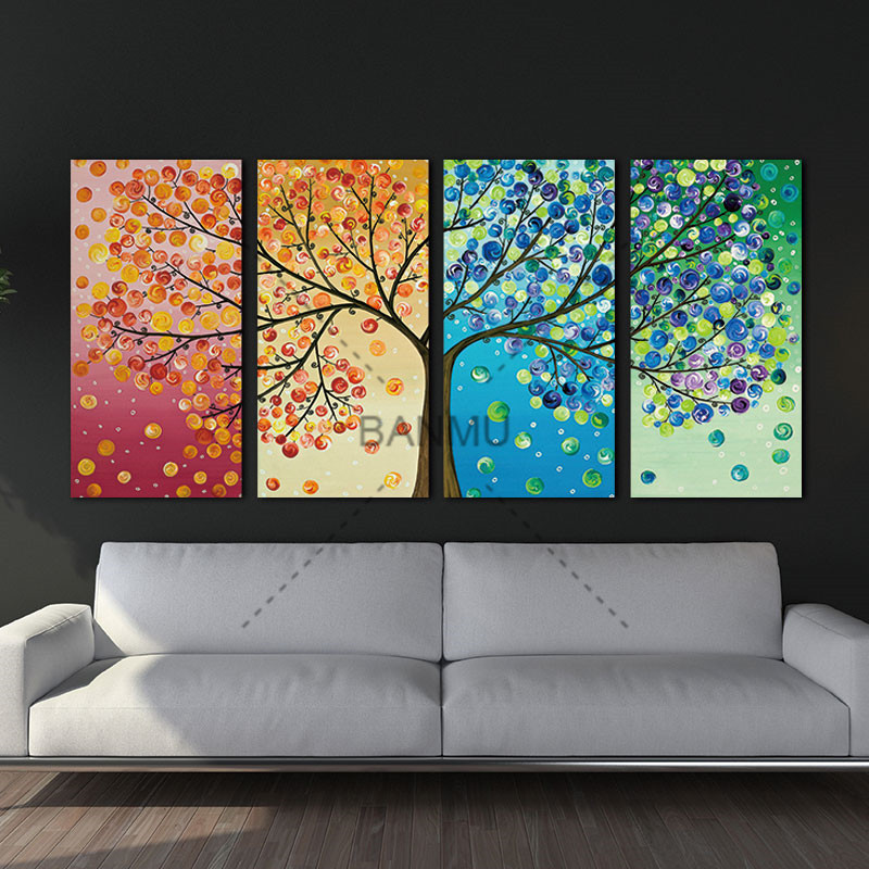 Unframed Colourful Leaf Trees Canvas painting 4 Piece Spray painting rectangle Wall Art Modular pictures for Home Decor