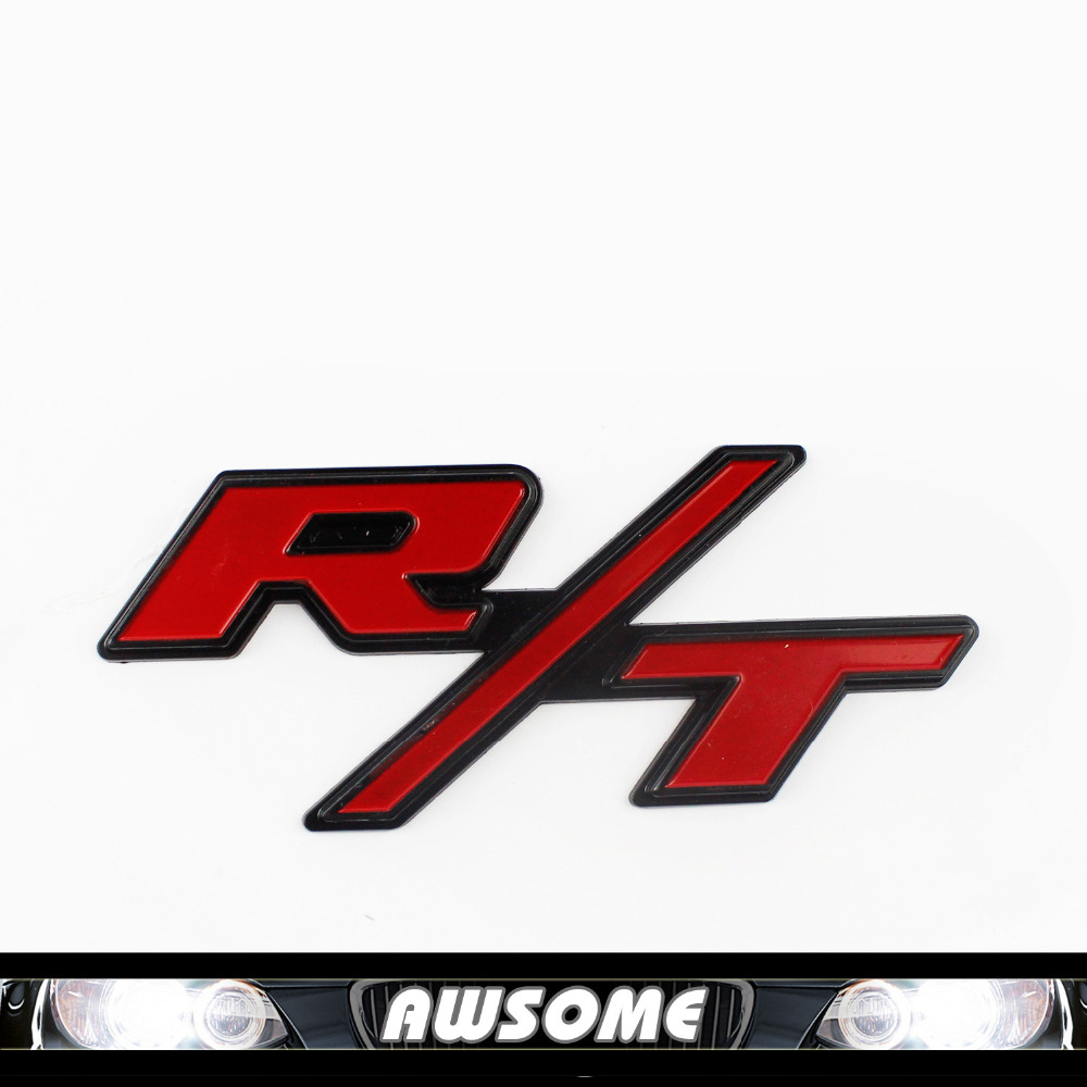 2x car vehicle truck red metal rt r t styling emblem decal sticker for dodge