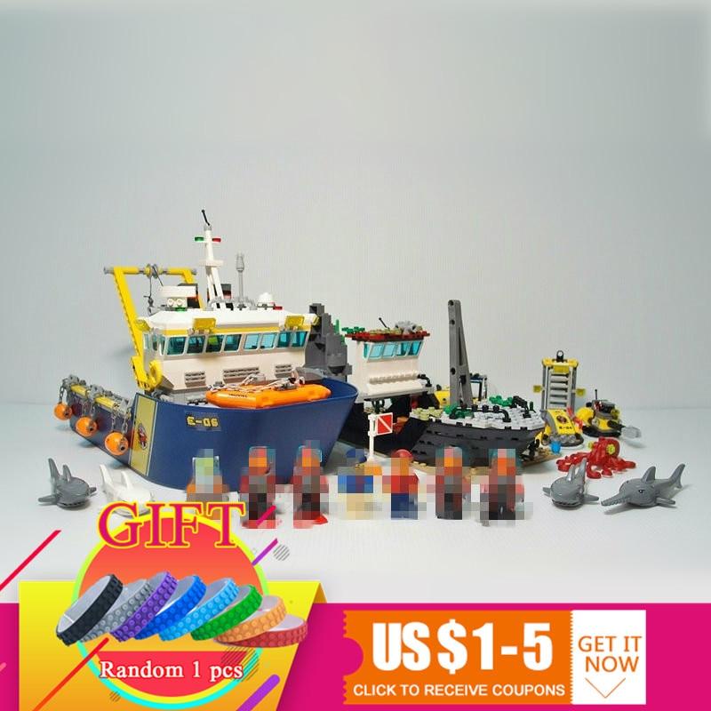 Model Building Blocks 774pcs City Series Deep Sea Exploration Vessel Building Blocks Compatible 60095 Toy