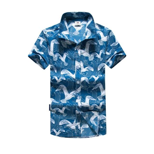 159026d37e7b Plus Size Mens Hawaiian Surf Beach Shirt 2018 Summer New Seagull Printed  Short Sleeve Male Beach Board Shirts Man M-5XL