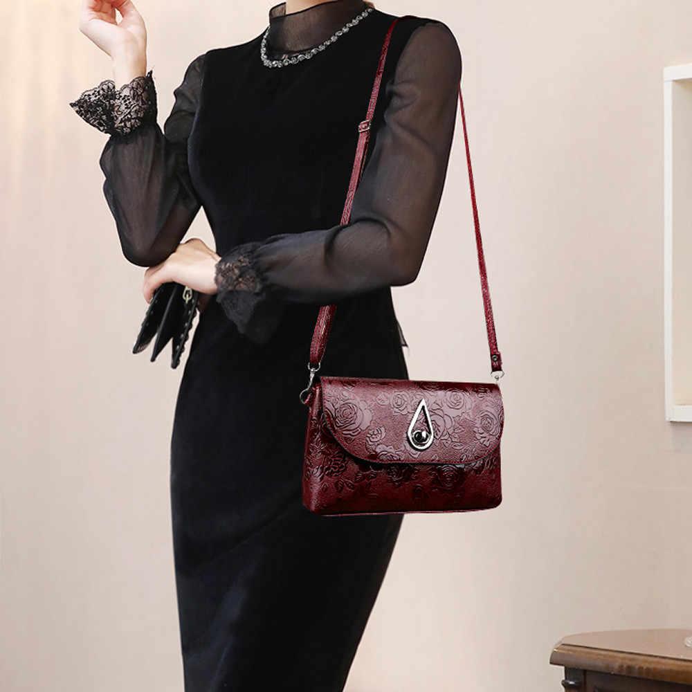 2019 Fashion Wanita Hitam Kulit Messenger Tas Vintage Cross Tubuh Floral Cetak Tas Bahu Sac Utama Femme Hot