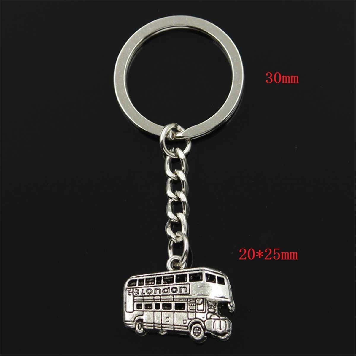 new fashion men 30mm keychain DIY metal holder chain vintage London bus car 20x25mm silver pendant Gift