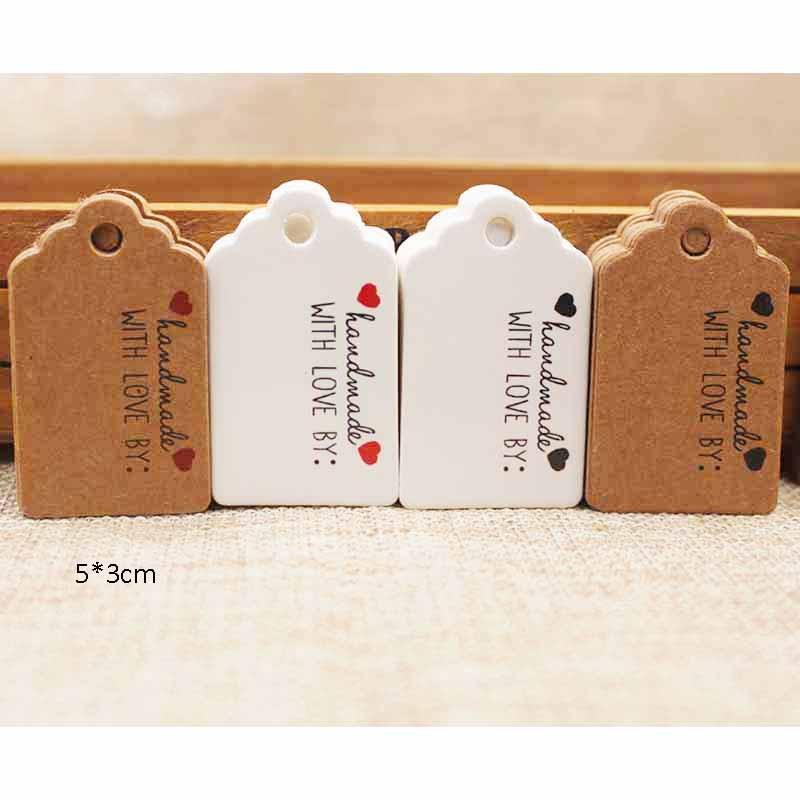 5x3cmPresent ручной тег этикетки красный сердце крафт-бумаги Спасибо теги для одежды Бумага Подарочная producdts бирка 400 шт. в партии