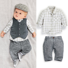 C147 0-3Y 2016 New 3PC Autumn Baby Boys Clothes Gentleman Suit Toddler Clothing Set Infant Plaid Wedding Birthday Outfits