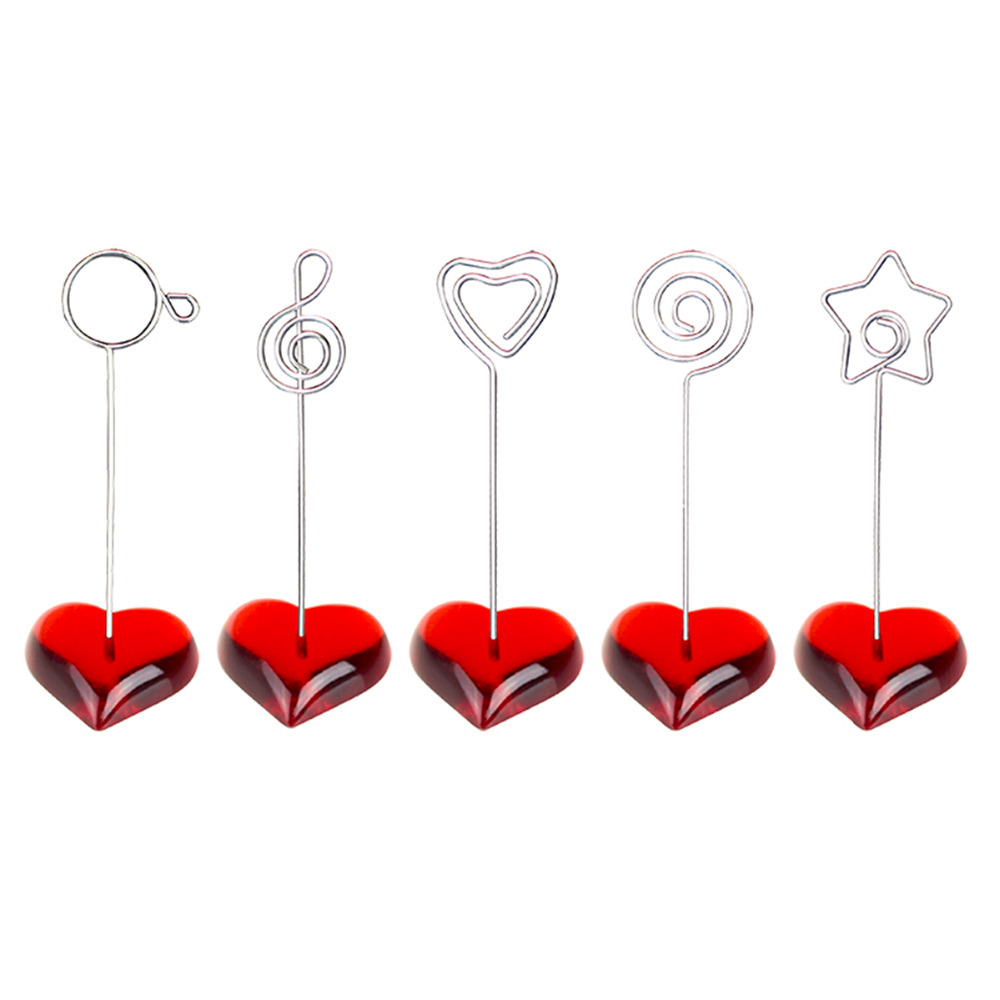 Lot 10pcs F Heart Base Craft Wire Photo Clip,Memo Holder,Message Card Table Wedding Place,Cheap Personalized Promotional Gift