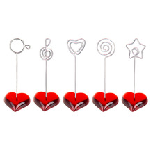 цены Lot 10pcs F Heart Base Craft Wire Photo Clip,Memo Holder,Message Card Table Wedding Place,Cheap Personalized Promotional Gift