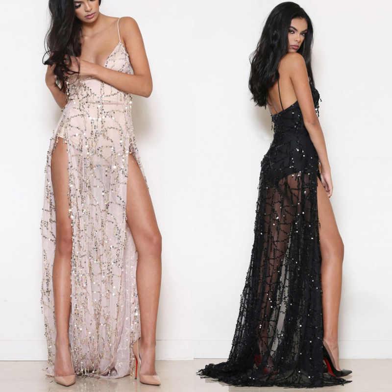 Sequin High Split Dress Sexy Women Dress spaghetti strap Maxi Long Dresses  Evening Party Elegant loose 0379da95dfce