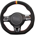 Xuji preto de camurça tampa da roda de direcção do carro para volkswagen golf 6 VW Polo GTI MK6 GTI Passat CC Scirocco R-Line R 2010