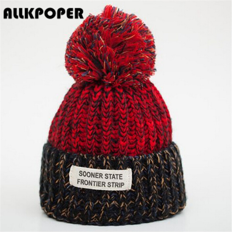 ALLKPOPER 2016 New Fashion Winter Hats For Women Wool Letter Pompon Casual Hip Hop Knitted Warm Hat Female Beanies 2016 new fashion letter gorros hats bonnets