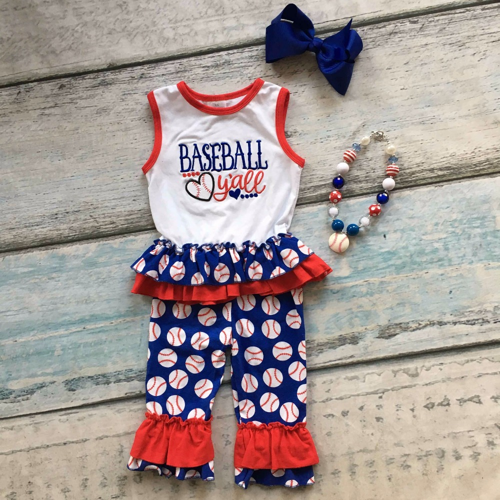 Summer design baby girls popular y'all baseball season style boutique ruffles cottonn capri outfit clothes matching accessories baby kids baseball season clothes baby girls love baseball clothing girls summer boutique baseball outfits with accessories