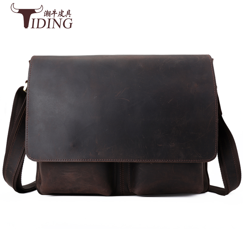 Crazy Horse Leather Men Laptop Bags Genuine Leather Man Crossbody Shoulder bags  Male Bag business dress travel file bags joyir crazy horse leather briefcases men s genuine leather business bags male shoulder bag laptop bag men office bags for men