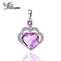 Romance Heart 7.2ct Natural Amethyst Pendant For Women Wedding Gift Genuine 925 Sterling Silver Without Chain Jewelry