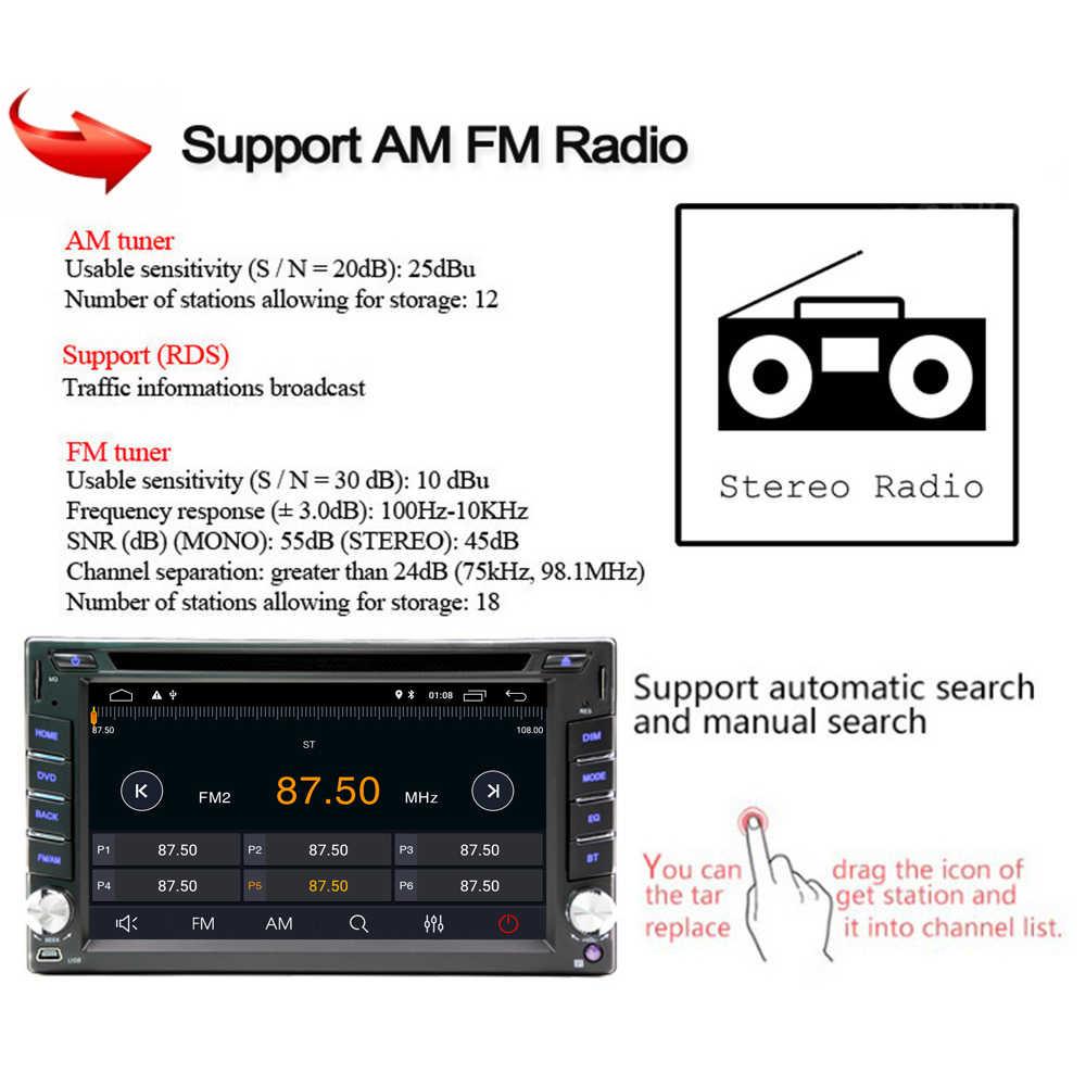"6.2 ""HD Android 9.0 Xe Máy Bộ Đàm DVD CD MP5 Video 2Din AM FM Autoradio RAM 2G TF SD GPS Wifi Bluetooth 45"