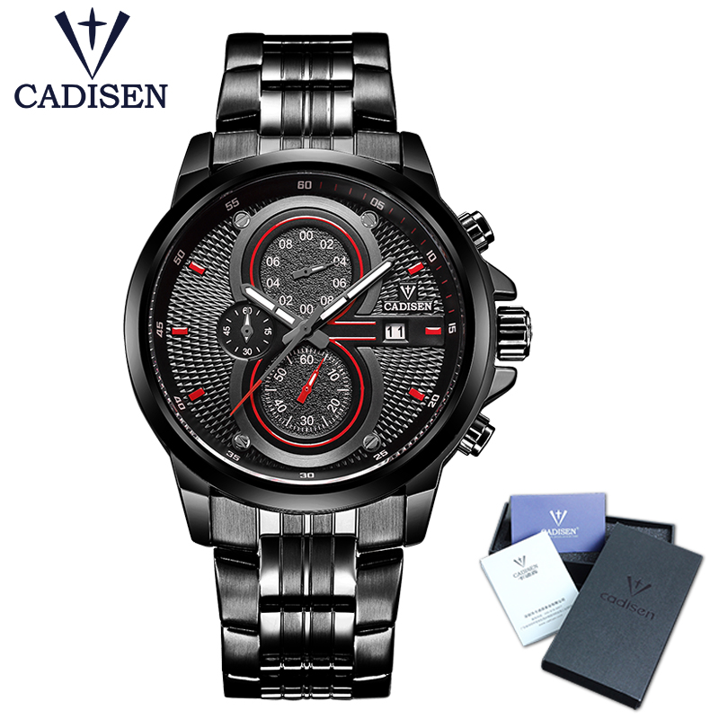 2017 New CADISEN Hot Quartz Men Watch Stainless steel Military Army Fashion Sports Luxury Brand Waterproof Top relogio masculino weide new men quartz casual watch army military sports watch waterproof back light men watches alarm clock multiple time zone