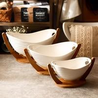 Fruit bowl ceramic bowl hotel vegetable bowl bamboo stand kitchen desktop art design storage tray