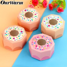 OurWarm 10pcs Pink Donut Candy Box Hexagon Boxes for Party Kids Birthday Decor kraft with Window