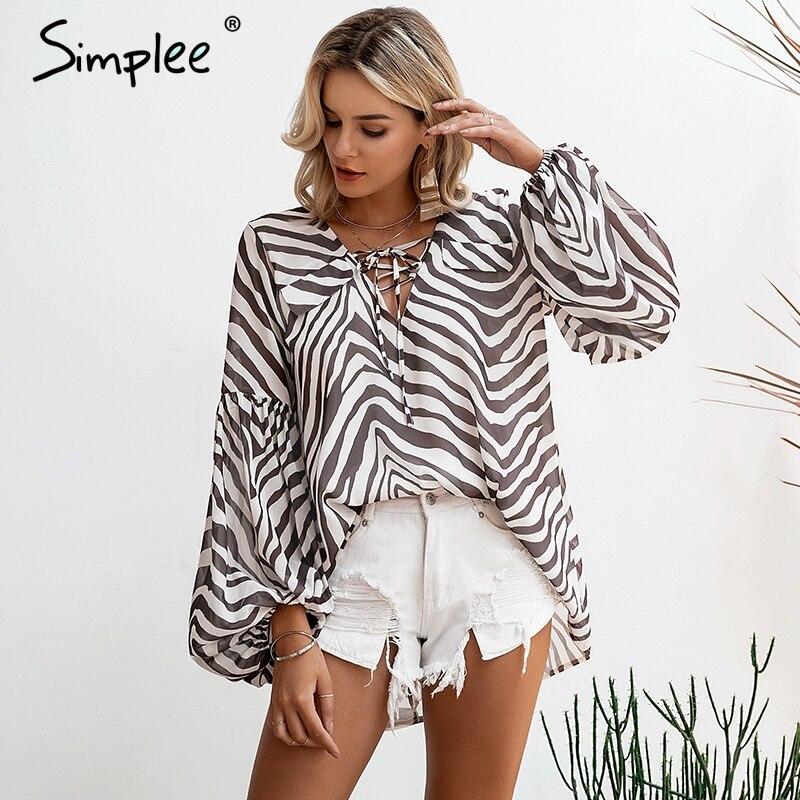 Simplee Zebra stripe printed women blouse shirt Bell sleeve female top shirt Elegant v neck lace up ladies blouse shirt feminina