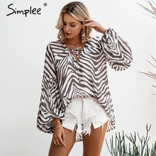 Simplee Zebra stripe printed women blouse shirt Plus size female top shirt Elegant v neck lace up ladies blusas shirt feminina(China)