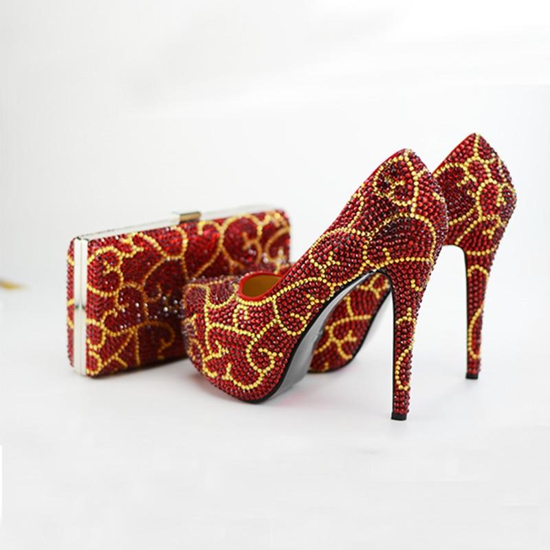 Rojo Grande Rhinestone Alto red Con With Hecho 14cm El De 11cm Talón Red Bag 8cm Zapatos Del A Tamaño Heels Heels Partido Bolso Nupcial Oro Boda Mano Lances red Vestido HZqwnESwWX