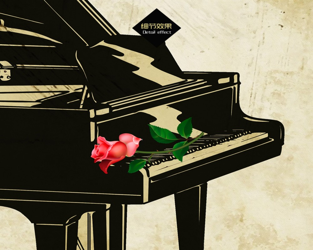 Free Shipping Custom 3D Music Bar Wallpaper Rose Piano Retro Background Wall Living Room Decoration Mural Cheap Cafe In Wallpapers From Home