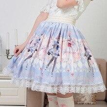 Супер милая японская юбка с принтом героев мультфильмов, Милая юбка принцессы Лолиты, горячая Распродажа, японская плиссированная женская летняя юбка Kawaii