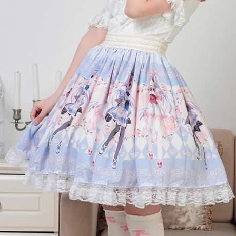 5bbda63a992683 € 30.18  Super mignon japonais personnages de dessins animés imprimé jupe  Lolita princesse douce offre spéciale japonaise plissée femmes été ...