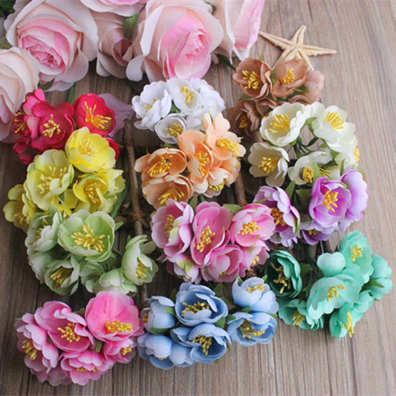 Handmade Wedding Flowers: 60pcs/lot Mini Silk Artificial Rose Flowers Bouquet