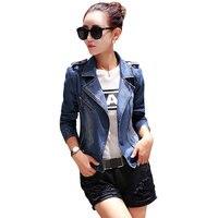 2018 Spring Autumn Women Slim Denim Jacket Casual Blue Long Sleeve Jeans Jacket Fashion Turn Down